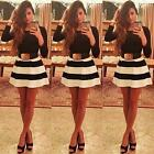 Elegant Women Striped Crew Neck Long Sleeves Party Cocktail Ball Gown Mini Dress