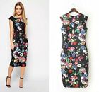 Basic Style slim 3/4 sleeve Floral print Bodycon Dress Prom Gown sleeveless