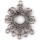 12/60pcs 145163 New Flower Hollow Charms Vintage Silver Alloy Connector Pendants