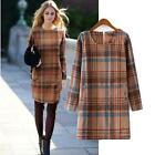 2015 Adorable Spring Bloggers Vintage Women's plaid check Long sleeve Mini dress