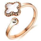 Rose Gold stainless steel White Shell Crystals Ring Women Lucky Four clover