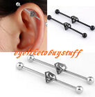 Pair Stainless Steel Superman Logo Long Industrial Bar Barbell Cartilage Earring