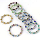 1pc Crystal Faceted Glass Alloy Flower Spacer Beads Bracelet Bangle Jewelry Gift
