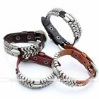Alloy Genuine Leather Punk Stars Motorcycle Rider Cuff Buckle Bracelet Wristband