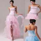 FREE P&P LONG High Low Wedding Bridesmaid Prom Formal Evening Party Gown Dresses