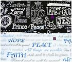 RELIGIOUS FABRIC~BY THE 1/2 YD~SCRIPTURE~JESUS~2 DESIGNS~U-PICK~COTTON~SEWING