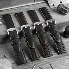 Black Genuine Italian Leather Perforated Racing Watch Strap Coloured Stitching