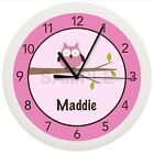PINK OWL NURSERY WALL CLOCK PERSONALIZED CUSTOMIZED GIRLS BEDROOM DECOR TREE