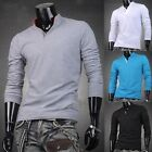 SOLID COLORS Men Slim Fit Long Sleeve Comfort Casual Tee Shirt Top Polo T-Shirts