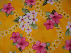 Hawaiian Print Cotton- Gold with yellow,white and pink flowers-sample available