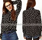 2015 stylish Fashion Women Vintage Long Sleeved Polka Dot Blouse Top Shirt