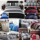 Checked & Striped Quilt Duvet Cover & Pillowcase Bedding Sets Tartan Check New