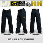 Men's Motorbike Black Cargo Trousers Pants Reinforced with DuPont™ Kevlar® fiber