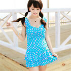 One Piece Blue Polka Dot Swimdress Tankini Swimwear Swimsuit Swimming Costume