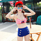 Retro Vintage Bikini Swimsuit Swimwear Top Studded High Waist Waisted Bottom Set