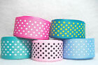 "ST6574V - 3 yds 7/8"" BLUE TROPIC PINK TURQUOISE SWISS DOT GROSGRAIN RIBBON"