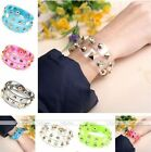 1x Punk Resin Transparent Film Statement Spike Rivet Wristband Cuff Bracelet Hot