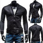 MOTORCYCLE JACKET Men's Zip Faux PU Leather Biker Jacket Locomotive Coat Outwear