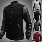 Classic American Men's Varsity Baseball Jacket PU Leather Letterman College Coat