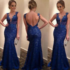 Women's Sexy Lace V-neck Fishtail Backless Long Dress Party Evening Ball Gown