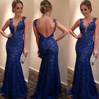 New Womens Lace Dress Sexy Banquet Ball Gowns V-neck Backless Full Length