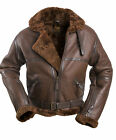 REAL SHEEPSKIN british FLYING bomber PILOT leather flight JACKET brown winter