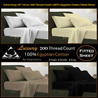 "Luxury Extra Deep 16""/41cm 200 Thread Count 100% Egyptian Cotton Fitted Sheet"