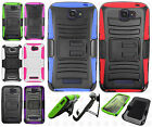 For Alcatel OneTouch Pop Icon Hybrid Combo Holster KICKSTAND Rubber Case Cover