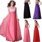2015 New Long Chiffon Beaded Bridesmaid Formal Evening Prom Party Cocktail Dress