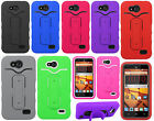 Boost Mobile ZTE Speed N9130 Rubber Hybrid HARD Case SnapTail Stand+Screen Guard