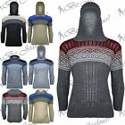 Mens Aztec Cable Chunky Knitted Long Sleeves Sweater Hoody Sweatshirt Jumper Top