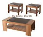 Hollywood Walnut Foil and Black Gloss Finish Lamp Coffee Table Occasional Set