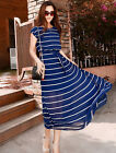 SALE Bohemian Style Women's Chiffon Short Sleeve Stripe Beach Causal Long Dress