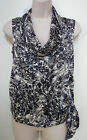 NWT BANANA REPUBLIC Women's Black Floral Print Sleeveless Hip Tie Blouse XS,S