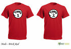 Mens Thing 1 and Thing 2 Red Dr Suess Cat In A Hat  Dress  T-shirt Brick Red