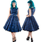 Midnight Dream Dress Blue Floral Vintage Chicstar Prom 50's Retro Pinup Swing
