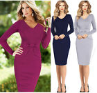 Vintage Women Long Sleeve Peplum Pinup Wear To Work Bodycon Party Pencil Dress