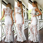 2015New Sexy Women's Hollow Out Clubwear Bodycon Lace Maxi Long Sleeveless Dress