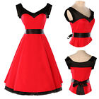 UK SUPER FAST PINUP SWING 50's STYLE Red HOUSEWIFE VINTAGE ROCKABILLY PROM DRESS