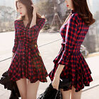 New Women's Girls' Retro Plaid Long Sleeve Lapel V-Neck Belted Shirt Dress Skirt