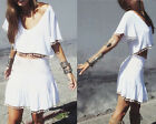 Sexy women  casual Tee Kimon Sleeve Two Piece Tassel Dress Slim Skirt Loose Tops