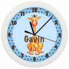 BLUE GIRAFFE NURSERY CLOCK WALL PERSONALIZED BABY BOY SHOWER GIFT ZOO