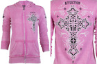 AFFLICTION Women Hoodie Sweat Shirt ZIP UP Jacket PARADIGM Biker RHINESTONES $98