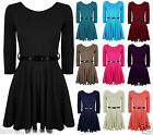 Women Belted 3/4 Short Sleeves Flared Franki Party Skater Dress Top 10-16
