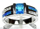 Hot!! London Blue Topaz & Blue Fire Opal Inlay 925 Sterling Silver Ring 6,7,8,9