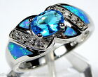 London Blue Topaz & Blue Fire Opal Inlay 925 Sterling Silver Ring Size 6 or 7