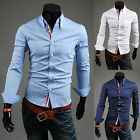 SIZE-S-M-L-XL SHIRTS Mens Slim Fit Dress Shirts Long Sleeve Button Down Fashion