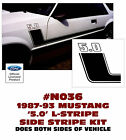 N036 1987-93 FORD MUSTANG - 5.0 BOSS STYLE L- SIDE STRIPE KIT - 5.0 NUMERAL