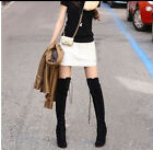 Womens Chic Faux Suede Platform Lace Up High Heel Over The Knee Boots Plus Size