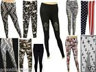Printed Leggings Ladies Skull Rose Army Peace Cross Stripe American Aztec Pants